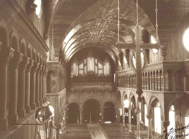 Historische foto van het orgel in de kathedraal